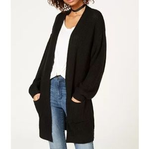 BP Black Rib Knit Open Front Cardigan Sweater S